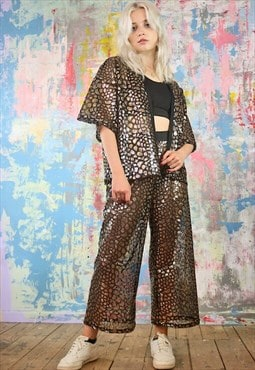 Cropped Trousers & Kimono Co-ordinates in mermaid sequin
