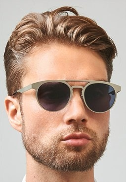 Logan Stainless Steel Silver Top Bar Mens Sunglasses