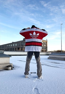 RARE Vintage 90s Red Adidas Sports Hockey Hoodie Jacket