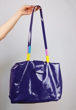 Vintage 90's Patent Shiny PVC Purple Shoulder Bag Tote