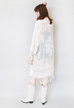 Vintage Style White Flock Silk Velvet Tassel Festival Kimono