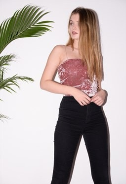Pink crushed velvet top