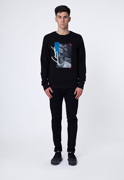 Black Sweatshirt with Zeus Design and Embroidery