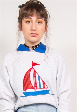 90'S GREY BOAT EMBROIDERED COLLAR SWEATSHIRT
