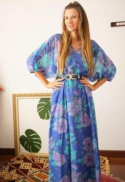 Vintage 70s chiffon dress blue flowers bohemian