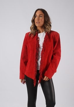 Suede Leather Tassel Fringe Jacket Coloured UK 12 (HW4Q)