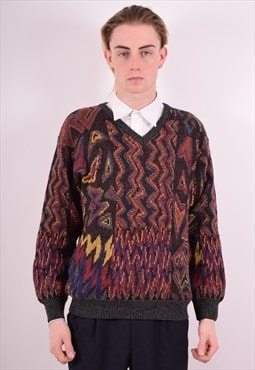 Mens Vintage Jumper Sweater Large Multi 90s