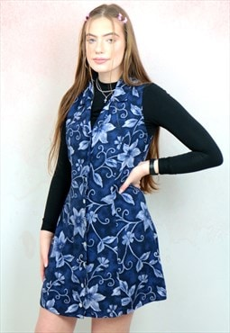 1990s vintage blue floral sleeveless tea dress