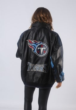 Vintage NFL Leather Bomber Jacket USA Oversized 20 22  (GBCY