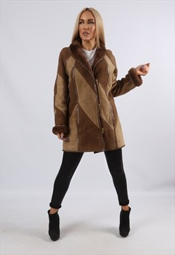 Vintage Sheepskin Suede Shearling Coat Leather UK 10 S (EK1I