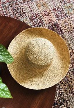 80's retro Boho festival Paris chic summer straw hat