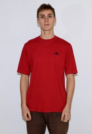 VINTAGE 90S RED ADIDAS SHORT SLEEVE T SHIRT