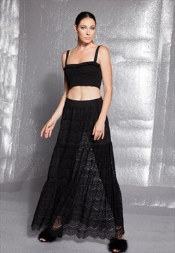 Lace skirt/ Black Lace clothing/ Black Maxi Skirt / Long Ski