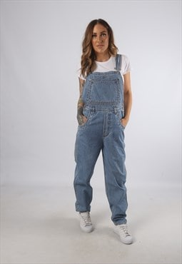 Vintage Denim Dungarees Wide Tapered Leg UK S 10 (93J)