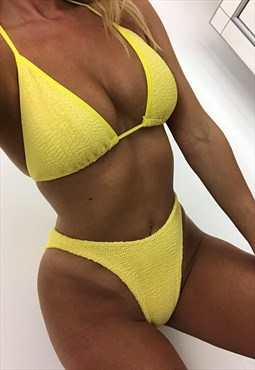 Triangle Bikini in Yellow Crinkle