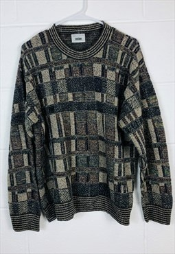 Vintage Abstract Knitted Jumper Beige and Multi-Coloured