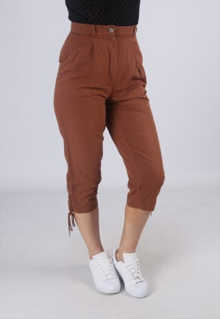 HIGH WAISTED TROUSERS PLAIN WIDE TAPERED LEG UK 8 (EA3G)