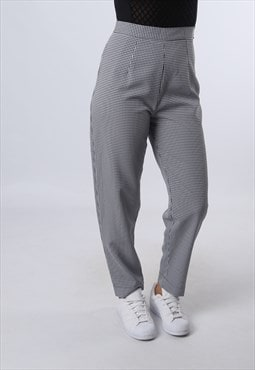 High Waisted Trousers Checked Tapered UK 10 (JJ6M)