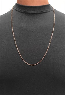 "30"" Slim Curb Necklace Chain - Rose Gold"