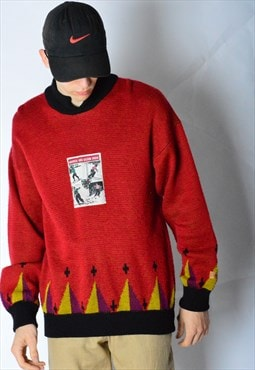 Vintage 70s Red Knit SKI Jumper