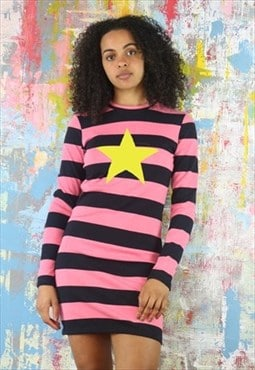 Mini Dress in striped pink & black with star
