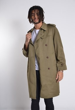 Vintage Long Length Military Trench Coat Rain Mac Greenn