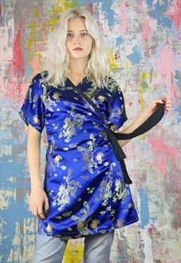 Mini Wrap Dress in Blue Chinese dragon satin