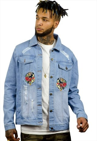 BLUE DENIM JACKET WITH EMBROIDERY TO THE FRONT AND BACK