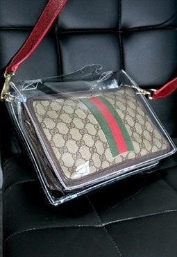 GUCCI GG Plus Web Stripe Bag Brown with PVC bag