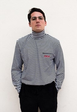 Long Sleeved Turtleneck T-Shirt with Stripes Black White