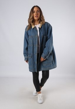 Vintage Denim Jacket Oversized Long Lined UK 18 XXL (LOAU)