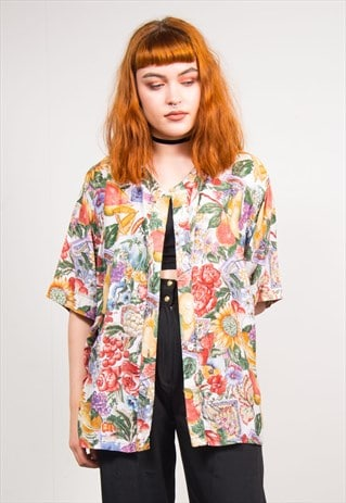 VINTAGE 90'S COLOURFUL FRUIT & FLORAL PRINT SHIRT BLOUSE