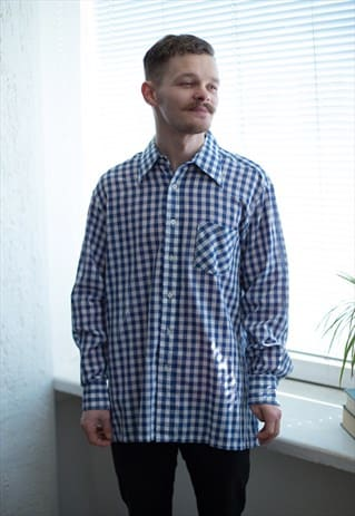 VINTAGE 90'S BLUE/WHITE CHECKED LONG SLEEVE SHIRT