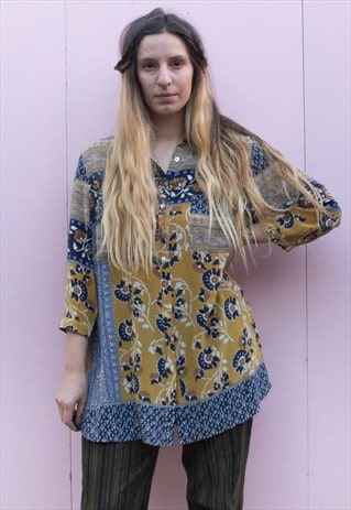 VINTAGE BOHEMIAN PRINT FLOATY SHIRT DRESS