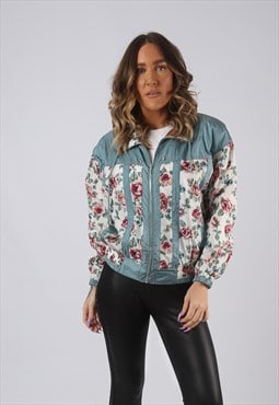 Shell Bomber Jacket 90's Patterned Print UK 8 - 10  (K3O)