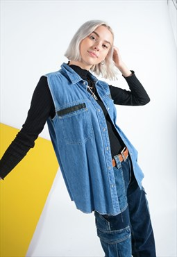 Vintage sleeveless denim shirt