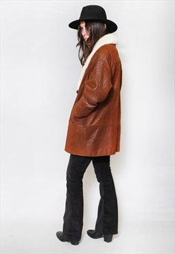 Vintage 1980's Premium Brown Shearling Aviator Coat