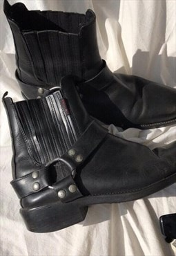 Vintage 90s Black Real Leather Biker Ankle Boots (Unisex)
