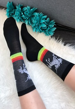 Black Unicorn Ankle Socks
