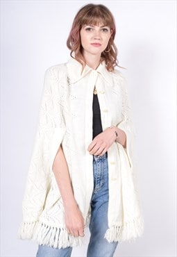 Vintage 90's Cape Knitted Cardigan Cream