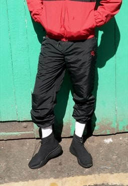 Adelphi woven track pant in black and red