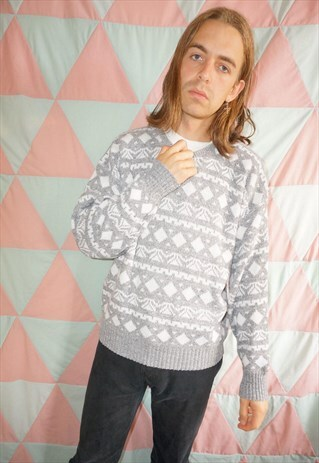 Vintage 80s Grey / White Fairisle Patterned Christmas Jumper
