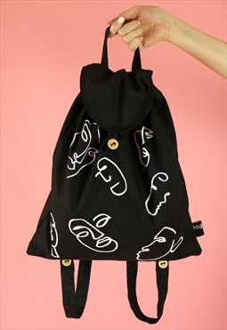 Faces Print Cotton Backpack - White on Black