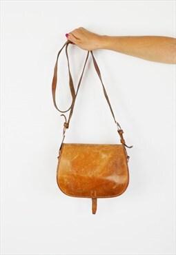 Tan Brown Leather Shoulder Bag