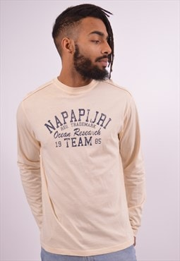 Napapijri Mens Vintage Top Long Sleeve Medium Beige 90s