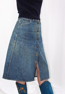 Vintage 70s A line denim skirt