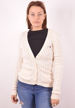 Ralph Lauren Womens Vintage Cardigan Sweater Small Beige 90s
