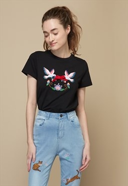 Bird Theme Embroidered T-Shirt with Ribbon