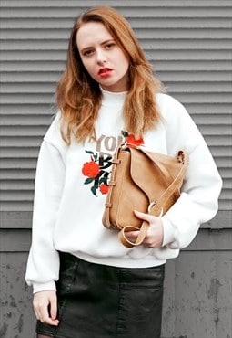 High Neck Embroidered Rose Sweatshirt