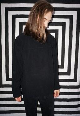 Vintage 90s Grunge Black Baggy V Neck Fleece